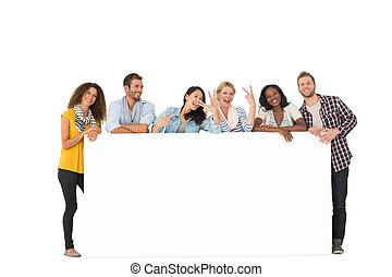 groep, poster, jonge, groot, neiging, vrienden, vrolijke