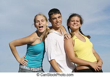 groep, scholieren, hardloop, tieners, gemengd, geitjes, of