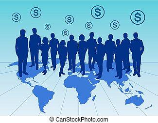 groep, silhouette, zakenlui