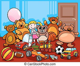 groep, spotprent, illustratie, speelgoed