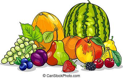 groep, spotprent, illustratie, vruchten