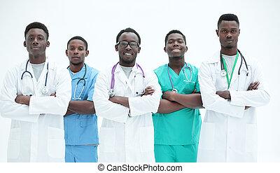 groep, staand, artsen, samen., vrijstaand, anders, witte