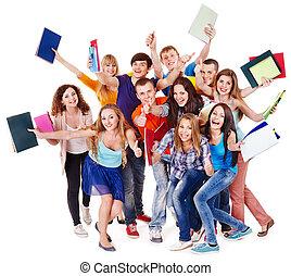groep, student, met, notebook.