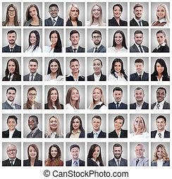 groep, succesvolle , portretten, werknemers, vrijstaand, witte