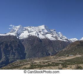 groep, toppen, trekkers, namche, heuvel, himalaya, bazaar