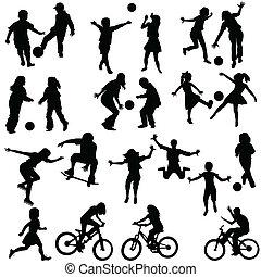 groep, van, actief, kinderen