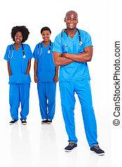 groep, van, afrikaan, medisch, artsen en verpleegsters