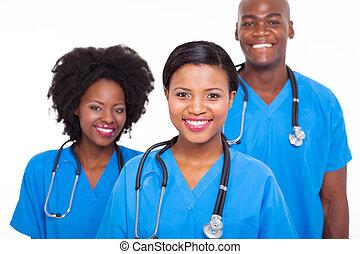 groep, van, afrikaan, medisch, artsen