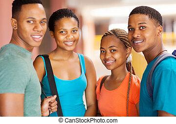groep, van, afrikaan, universiteitsstudenten