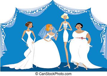 groep, van, anders, bruiden