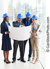 groep, van, architecten, doorwerken, een, plan