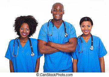 groep, van, black , artsen en verpleegsters