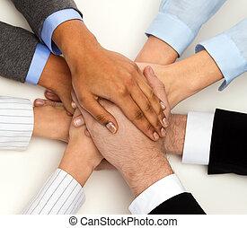 groep, van, businesspeople, vieren, overwinning
