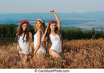 groep, van, de, modellen, mooi, aantrekkelijk, meiden, in, badpak