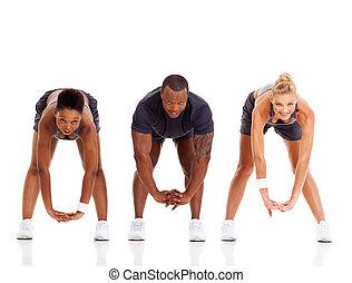 groep, van, drie mensen, stretching
