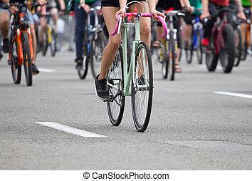 groep, van, fietser