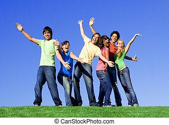 groep, van, gemengde race, tieners