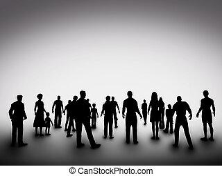 groep, van, gevarieerd, mensen, silhouettes., maatschappij,...