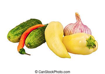 groep, van, groentes, op, een, witte achtergrond