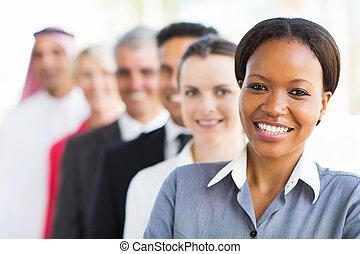 groep, van, handel team, staand, in een rij
