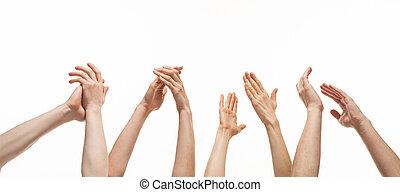 groep, van, handen, applauding
