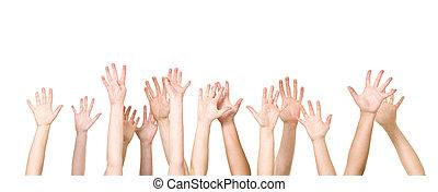 groep, van, handen, in de lucht