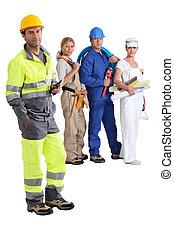 groep, van, handleiding, werkmannen