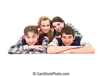 groep, van, het glimlachen, tieners