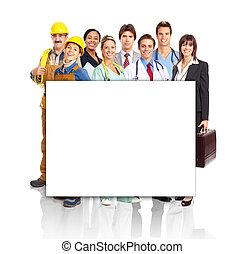 groep, van, industriebedrijven, workers.