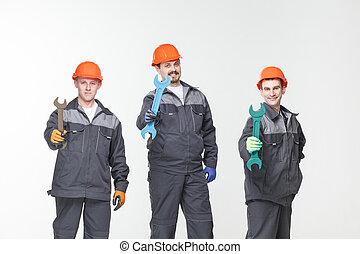 groep, van, industriebedrijven, workers., vrijstaand, op, witte achtergrond