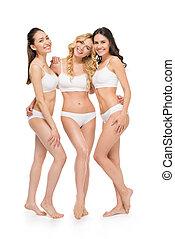groep, van, jonge, het glimlachen, vrouwen, in, lingerie, vrijstaand, op wit