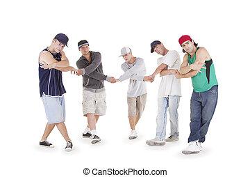 groep, van, jonge tieners, het poseren, op, witte