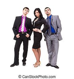 groep, van, jonge, zakenlui