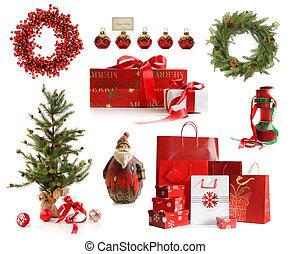 groep, van, kerstmis, voorwerpen, vrijstaand, op wit