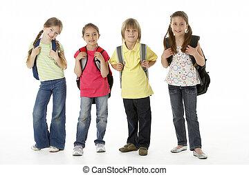 groep van kinderen, in, studio