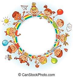 groep van kinderen, met, leeg, board., tekening, zoals,...