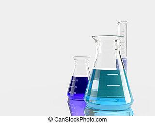 groep, van, laboratorium, flasks