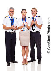 groep, van, luchtroute, bemanning, applauding