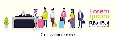 groep, van, malen, vermalen, hardloop, passagiers, staand, in, rij, om te, toonbank, opschrijven, luchthaven, mal, spandoek, met, de ruimte van het exemplaar, vertrek, plank, concept