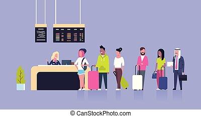 groep, van, malen, vermalen, hardloop, passagiers, staand, in, rij, om te, toonbank, opschrijven, luchthaven, vertrek, plank, concept