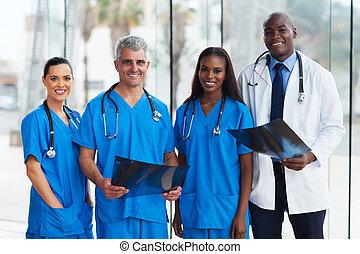 groep, van, medisch, artsen, in, kantoor