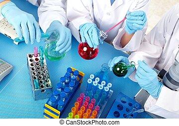 groep, van, medisch, artsen, in, laboratory.