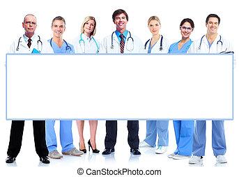 groep, van, medisch, artsen, met, banner.