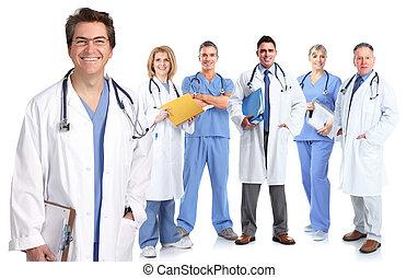 groep, van, medisch, artsen, .