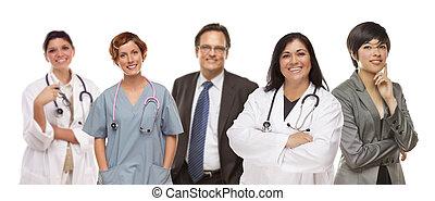 groep, van, medisch, en, zakenlui, op wit