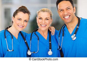 groep, van, medisch team, in, ziekenhuis