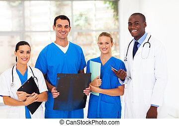 groep, van, medisch, werkmannen , in, ziekenhuis