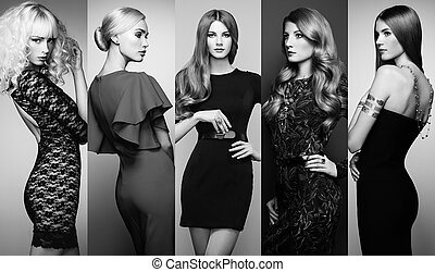 groep, van, mooi, jonge vrouwen