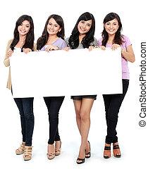 groep, van, mooie vrouwen, het glimlachen