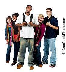 groep, van, multi-racial, universiteitsstudenten
